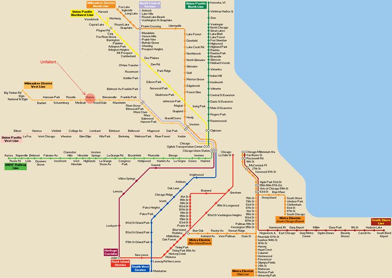 öffentlicher Nahverkehr im Großraum Chicago, Liniensystem derVerkehrsgesellschaft Metra