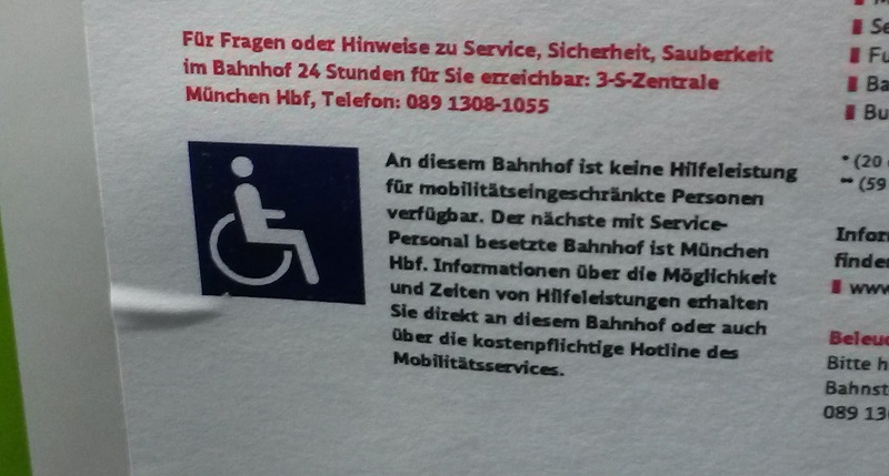 kein Serive für Behinderte am Ostbahnhof München