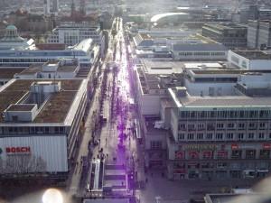 Stuttgarter Innenstadt Blick vom Turm des Hauptbahnhofs