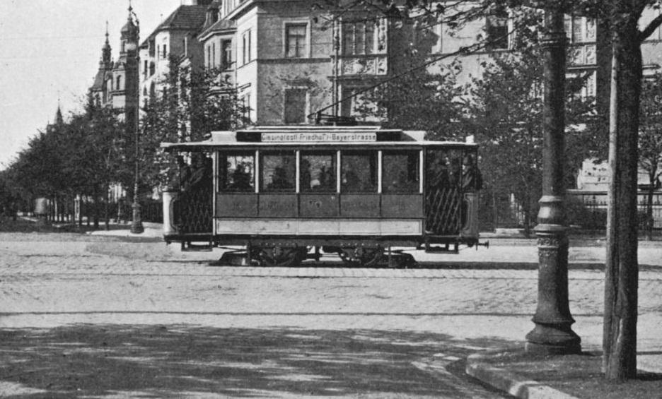 Straßenbahn in der Göthestraße, Ludwigsvorstadt in München, 1898