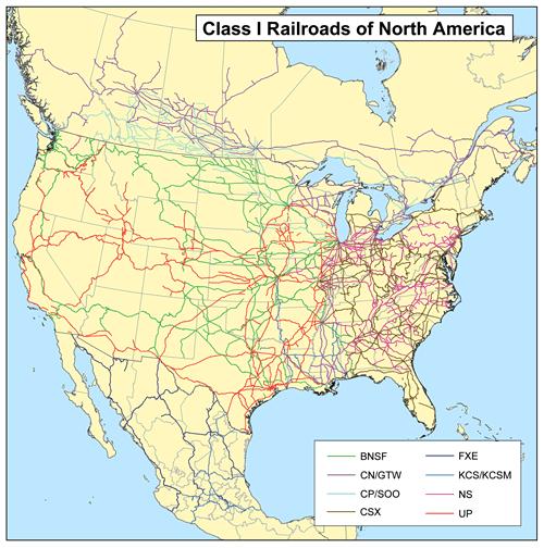 Class1-Eisenbahngesellschaften in Nordamerika